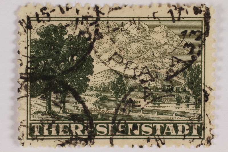 2012.464.3 front Cancelled parcel admission stamp for Theresienstadt ghetto-labor camp