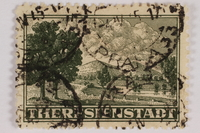 2012.464.3 front Cancelled parcel admission stamp for Theresienstadt ghetto-labor camp  Click to enlarge