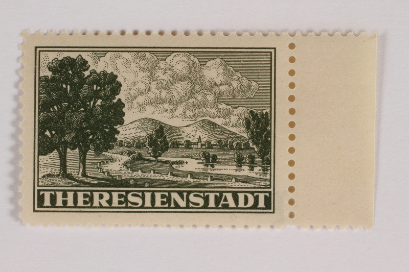 2012.464.4 front Unused parcel admission stamp for Theresienstadt ghetto-labor camp