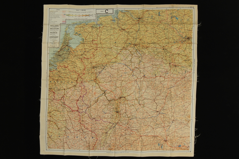 2013.318.2 front Two-sided silk escape map of Western Europe carried by a US soldier