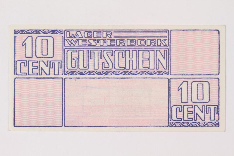 1988.64.8.28 front Westerbork transit camp voucher, 10 cent note