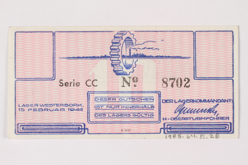 1988.64.8.28 back Westerbork transit camp voucher, 10 cent note