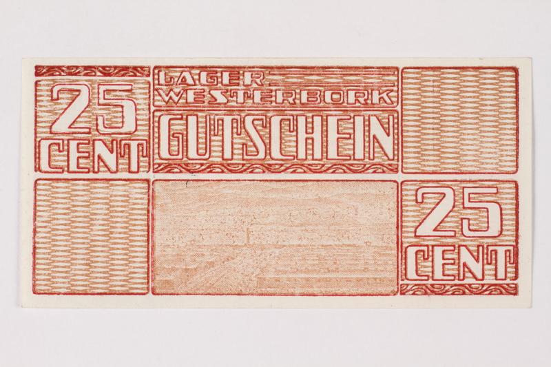 1988.64.8.29 front Westerbork transit camp voucher, 25 cent note