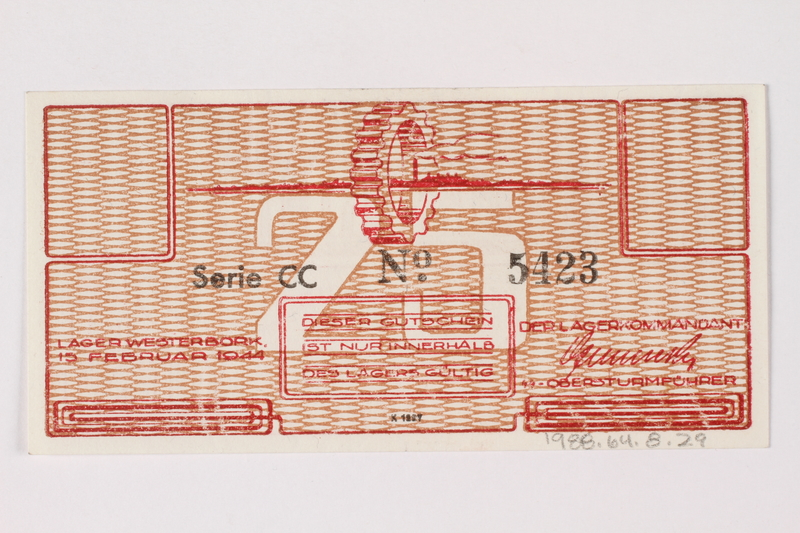1988.64.8.29 back Westerbork transit camp voucher, 25 cent note