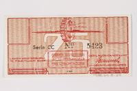 1988.64.8.29 back Westerbork transit camp voucher, 25 cent note  Click to enlarge