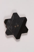 2013.335.2 back Bakelite Star of David button worn by a Bulgarian Jewish woman  Click to enlarge