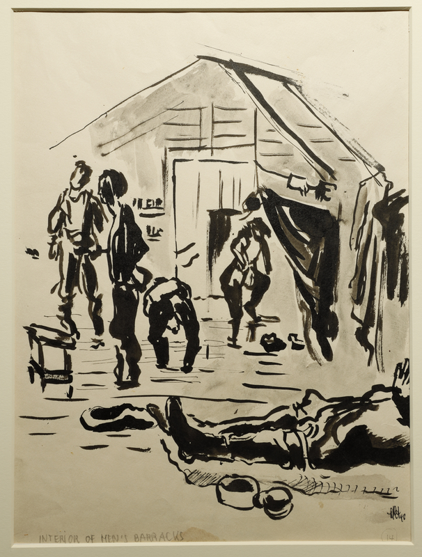 1988.1.14 front Sketch of figures inside a barrack by a German Jewish internee