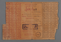 1988.68.1.3 front Łódź Ghetto ration card issued to a ghetto inmate  Click to enlarge