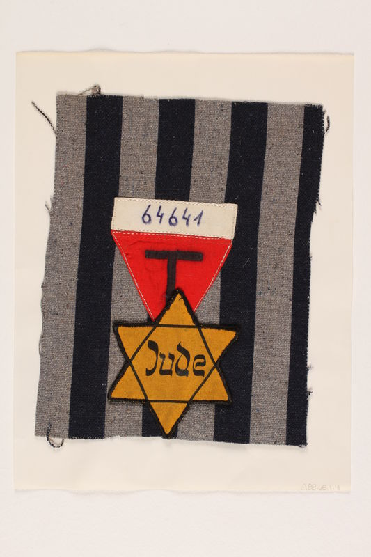 1988.68.1.4 front Blue-gray striped uniform square with a red triangle and yellow Star of David badge