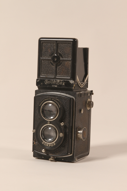 2002.428.2 front Black Rolleiflex camera with Zeiss lens