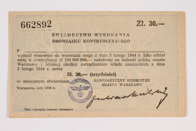 2014.167.1 front Certificate of compulsory contribution