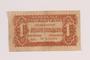 Republic of Czechoslovakia currency, 1 korunu note, acquired by a Jewish Polish survivor