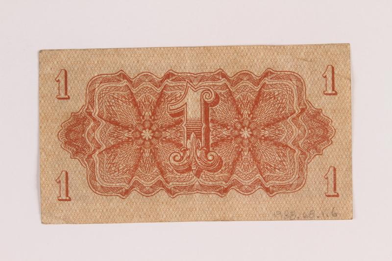 1988.68.1.6 back Republic of Czechoslovakia currency, 1 korunu note, acquired by a Jewish Polish survivor