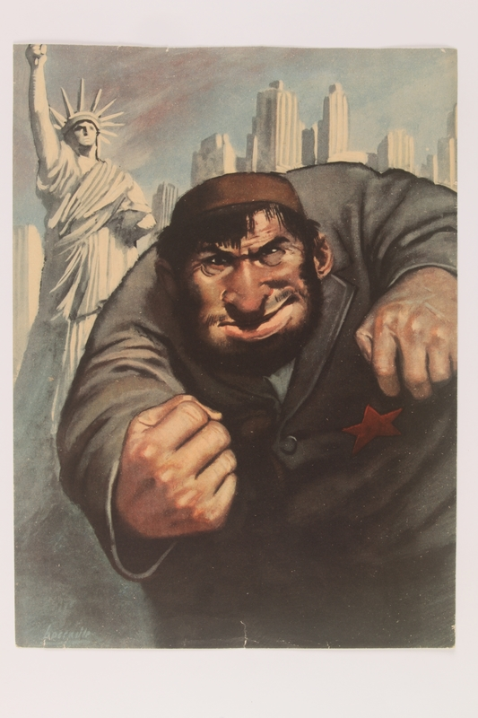 2014.313.1 front Poster of a Jewish Bolshevik bully shaking his fists in defense of NYC