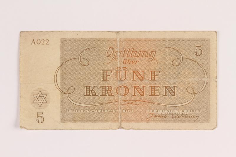 1988.68.1.7 front Theresienstadt ghetto-labor camp scrip, 5 kronen, acquired by Jewish Polish survivor