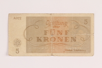 1988.68.1.7 front Theresienstadt ghetto-labor camp scrip, 5 kronen, acquired by Jewish Polish survivor  Click to enlarge