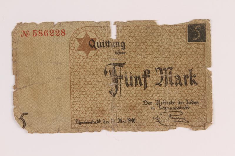 1988.68.1.8 front Łódź (Litzmannstadt) ghetto scrip, 5 mark note, acquired by a Jewish Polish survivor