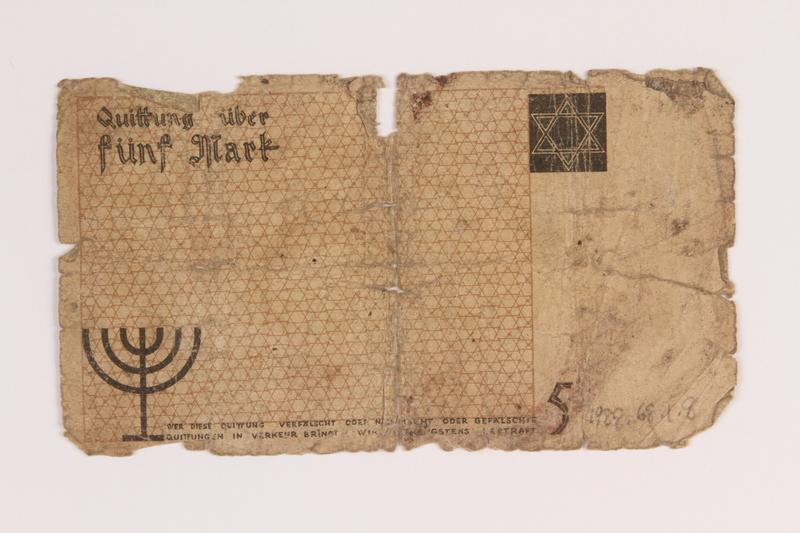 1988.68.1.8 back Łódź (Litzmannstadt) ghetto scrip, 5 mark note, acquired by a Jewish Polish survivor