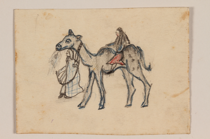 2009.204.30 front Small color drawing of a man leading a camel with rider created by a former hidden child