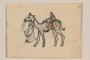 Small color drawing of a man leading a camel with rider created by a former hidden child