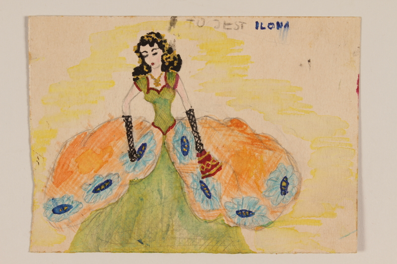 2009.204.32 front Watercolor of a black haired young woman in a ball gown created by a hidden child