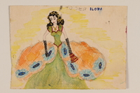 2009.204.32 front Watercolor of a black haired young woman in a ball gown created by a hidden child  Click to enlarge
