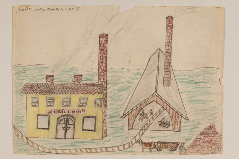 2009.204.35 front Color drawing of a brick factory created by a former hidden child