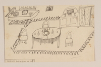 2009.204.37 front Pencil drawing of a furnished room created by a former hidden child  Click to enlarge