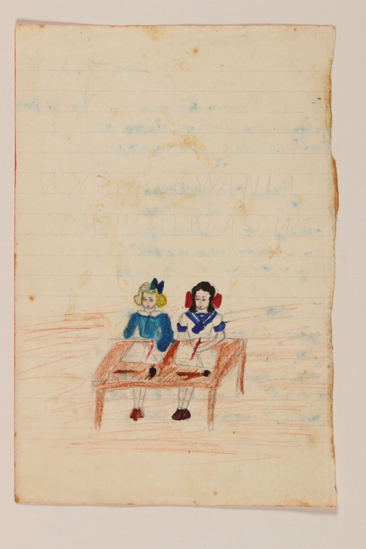 2009.204.41 front Color drawing of a two girls seated at the same desk created by a former hidden child