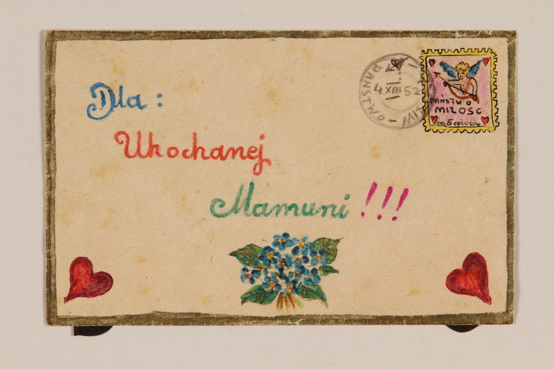 2009.204.44 front Envelope decorated with hearts and a hand drawn cancelled stamp created by a former hidden child