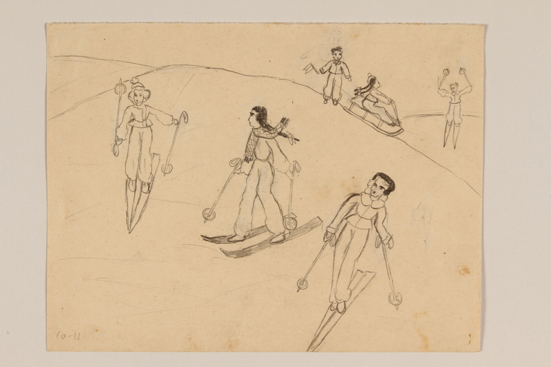2009.204.45 front Pencil drawing of children skiing and sledding created by a hidden child
