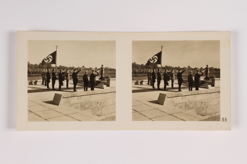 2014.312.1 front Nazi Party rally stereograph depicting Hitler and the Nazi Leadership