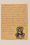 Letter with a color drawing of a girl in a chair sent by a former hidden child