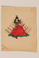 2009.204.49 front Watercolor of a princess in a red and green gown created by a former hidden child  Click to enlarge