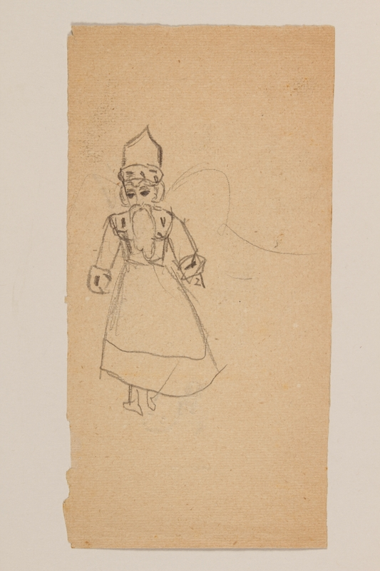 2009.204.51 back Double-sided drawing of a beautiful costumed woman and a costumed man sketched by a hidden child