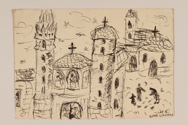 2009.204.54 front Ink drawing of a cityscape with three churches created by a hidden child