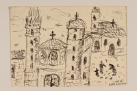 2009.204.54 front Ink drawing of a cityscape with three churches created by a hidden child  Click to enlarge