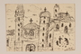 Ink drawing of a cityscape with three churches created by a hidden child