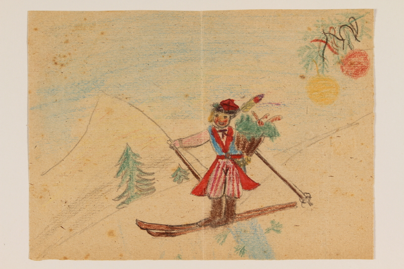 2009.204.55 front Two-sided color drawing of a girl on skis created by a hidden child