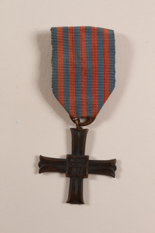 2012.471.21 front Monte Cassino Commemorative Cross awarded to a Jewish soldier, 2nd Polish Corps