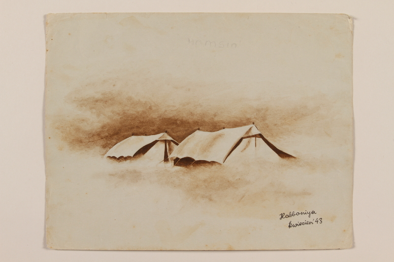 2012.471.54 front Brown hued watercolor of two tents in a desert windstorm created by a Jewish soldier, 2nd Polish Corps