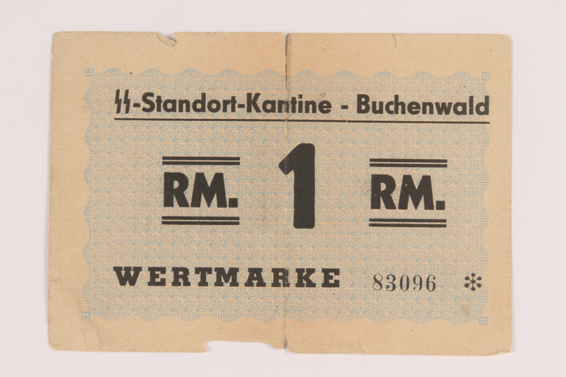 2013.388.2 front Buchenwald Standort-Kantine concentration camp scrip, 1 Reichsmark, acquired by a US soldier after liberation