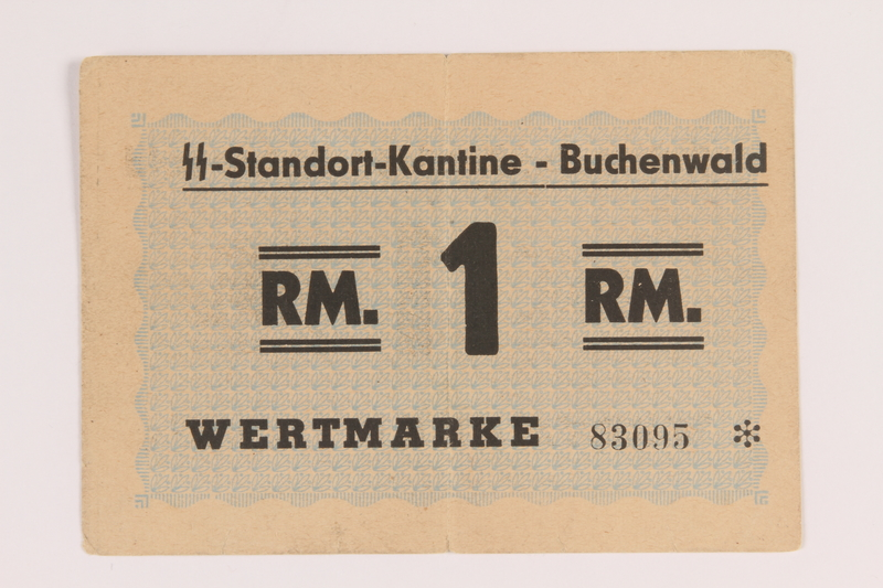 2013.388.3 front Buchenwald Standort-Kantine concentration camp scrip, 1 Reichsmark, acquired by a US soldier after liberation