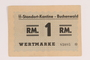 Buchenwald Standort-Kantine concentration camp scrip, 1 Reichsmark, acquired by a US soldier after liberation