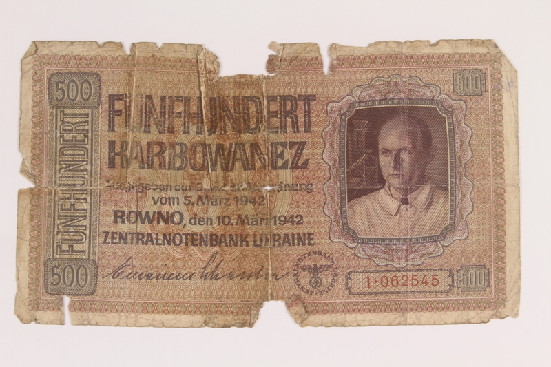 2012.471.174 front Occupation currency note, 500 Karbowanez, acquired by Jewish soldier, 2nd Polish Corps