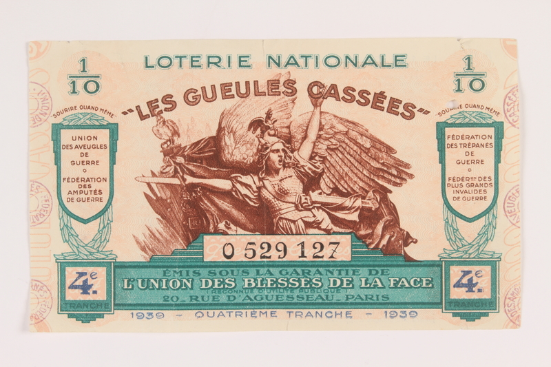 2013.391.2 front Les Gueules Cassées French National Lottery ticket