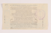 2013.391.2 back Les Gueules Cassées French National Lottery ticket  Click to enlarge