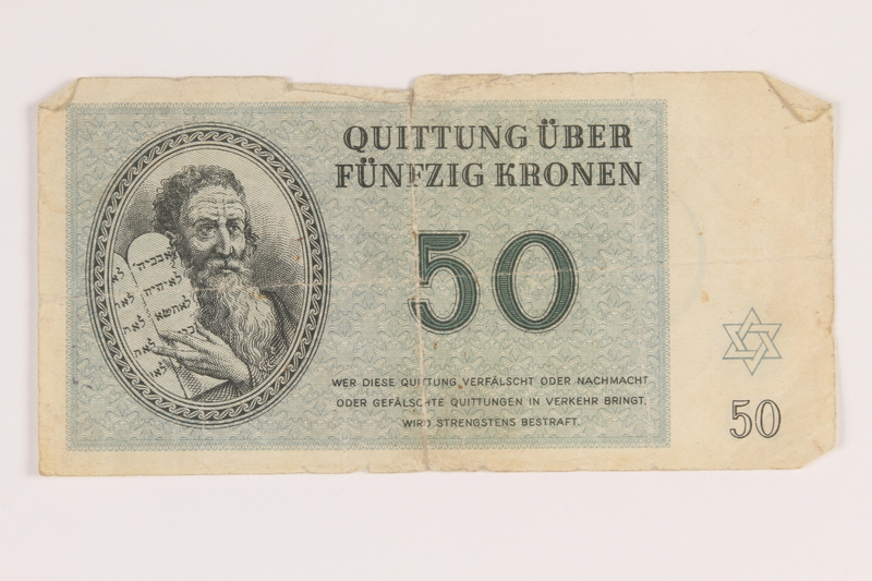 2013.391.3 front Theresienstadt ghetto-labor camp scrip, 50 [funfzig] kronen note