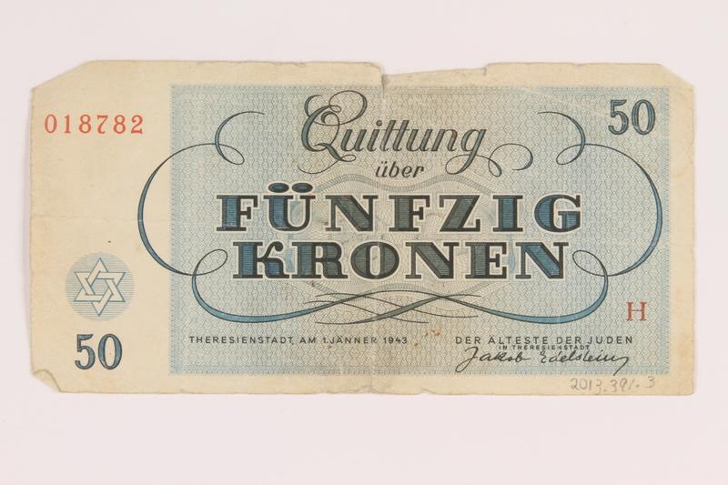 2013.391.3 back Theresienstadt ghetto-labor camp scrip, 50 [funfzig] kronen note
