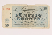 2013.391.3 back Theresienstadt ghetto-labor camp scrip, 50 [funfzig] kronen note  Click to enlarge